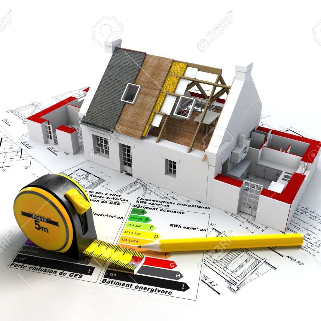 18499145-representación-3d-de-una-casa-en-construcción-en-la-parte-superior-de-los-planos-con-y-tabla-de-calificaci